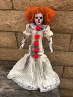 OOAK Pennywise IT Clown Girl One Eye Long Dress Creepy Horror Doll Art by Christie Creepydolls