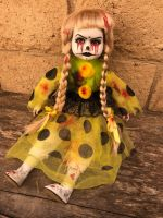 OOAK Sitting Joker Girl Tears of Blood Creepy Horror Doll Art by Christie Creepydolls