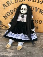 OOAK Sitting Demon Girl Black Hair Creepy Horror Doll Art by Christie Creepydolls