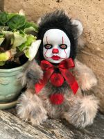 OOAK Pennywise IT Clown Teddy Bear #3 Creepy Horror Doll Art Christie Creepydolls