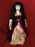 OOAK Pretty White Eyes Black Hair Vamp Lady Creepy Horror Doll Art by Christie Creepydolls