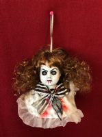 OOAK Hanging Doll Head w Blood & Bow Creepy Horror Doll Art Christie Creepydolls