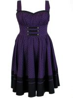 Plus Size Black and Purple Polka Dot Flirty Rockabilly Dress