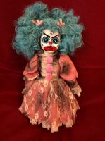 OOAK Angry Blue Clown (Jenn) Creepy Horror Doll Art by Christie Creepydolls