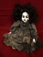 OOAK Small Musical Sitting Black Spider Girl Creepy Horror Doll Art by Christie Creepydolls
