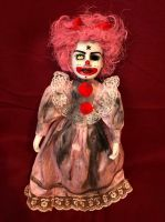 OOAK Pink Hair Star Clown Creepy Horror Doll Art by Christie Creepydolls