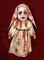OOAK Bloody Evil 666 Nun Creepy Horror Doll Art by Christie Creepydolls