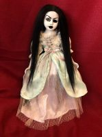 OOAK Pretty One Eye Black Hair Creepy Horror Doll Art by Christie Creepydolls