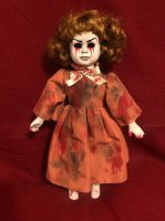 OOAK Medium Hollow Eye Tears of Blood Creepy Horror Doll Art by Christie Creepydolls