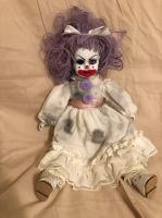 OOAK Sitting Purple One Eye Clown Circus Sideshow Creepy Horror Doll Art by Christie Creepydolls