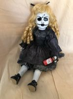 OOAK Sitting Malice in Wonderland w Bottle Creepy Horror Doll Art by Christie Creepydolls