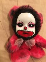 OOAK Small Cute Pink Clown Teddy Bear Creepy Horror Doll Art Christie Creepydolls