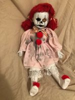 OOAK Sitting Raggedy Ann Clown Jester Circus Sideshow Creepy Horror Doll Art by Christie Creepydolls