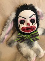 OOAK White Clown Bunny Rabbit Creepy Horror Doll Art Christie Creepydolls