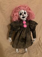 OOAK Pink Hair Joker Jester Girl Creepy Horror Doll Art by Christie Creepydolls