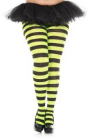Plus Size Opaque Black & Neon Green Wide Striped Fairy Tights