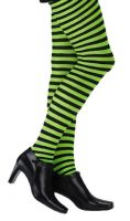 Plus Size Opaque Black & Green Fairy Striped Tights