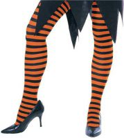 Opaque Black & Orange Fairy Striped Tights