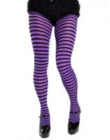 Plus Size Opaque Black & Purple Fairy Striped Tights