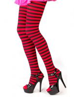 Plus Size Opaque Black & Red Fairy Striped Tights