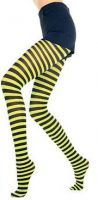 Plus Size Opaque Black & Neon Yellow Fairy Striped Tights