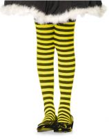 Plus Size Opaque Black & Yellow Fairy Striped Tights