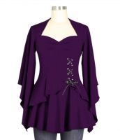 Plus Size Purple Gothic Kimono Sleeve Sweetheart Side Corset Top