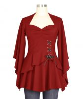 Plus Size Red Gothic Kimono Sleeve Sweetheart Side Corset Top