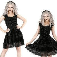 Sinister Gothic Plus Size Black Sleeveless Velvet & Lace Brocade Trim Corset Short Mini Dress