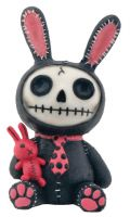 Black Bun Bun Furry Bones Skellies Figurine