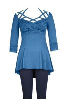 Plus Size Blue Gothic Criss Cross Stetchy Jersey Top