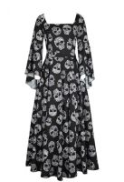 Plus Size Black w/ Skull Print Long Gothic Renaissance Chiffon Dress