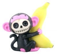 Black Munky Furry Bones Skellies Figurine