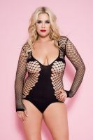 Plus Size Black Long Sleeve Diamond Net Teddy