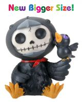 Leopold Black Crow Furry Bones Skellies Medium Figurine