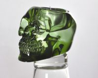 Green Translucent Skull Candle Holder