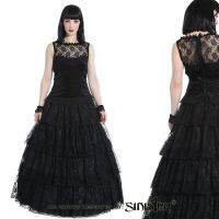 Sinister Gothic Plus Size Black 4 Tier Lace & Satin Long Layered Skirt