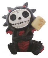 Black Scorchie Dragon Furry Bones Skellies Figurine