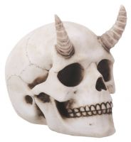 Small Horned Demon Skull Figurine