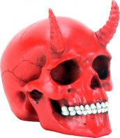 Small Red Horned Demon Skull Figurine