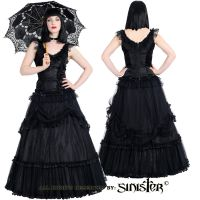 Sinister Gothic Plus Size Black Tulle & Mesh Draped Satin Roses Long Ballgown Skirt