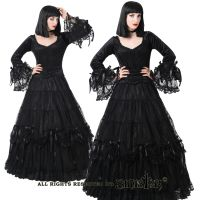 Sinister Gothic Plus Size Black Tiered Lace Satin Rosettes & Bows Long Renaissance Skirt