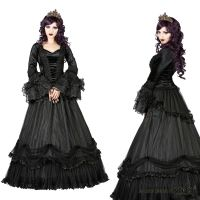 Sinister Gothic Plus Size Black Tiered Satin & Ruffled Mesh Velvet Bows Long Skirt
