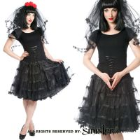 Sinister Gothic Plus Size Black Double Layer Tulle Satin Ribbon & Bows Petticoat Style Skirt