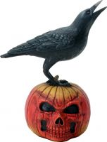 Raven on Skeleton Pumpkin Figurine