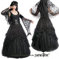 Sinister Gothic Plus Size Black Satin Lace & Tulle w Rosettes Long Wedding Gown