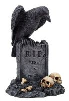 Raven on Tombstone with Skulls