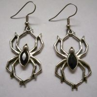 Spider w Black Stone Earrings