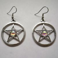 Polished Pentacle w AB Stone Earrings
