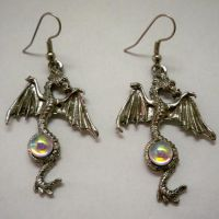 Dragon Earrings w Aurora Borealis Jewel